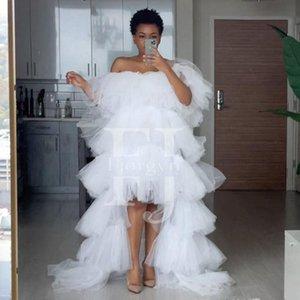 Повседневные платья мода белый с плеча высокие низкие выпускные платья женщин формальная вечеринка оборками ямерный заказ на заказ на молнии