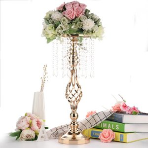 Crystal Candle Holders Metal Candlestick Flower Vase Table Centerpiece Event Flower Rack Road Lead Wedding Decoration