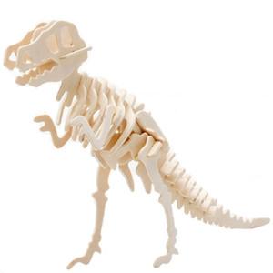 3D Simulation Dinosaurier Puzzle Spielzeug DIY Lustiges Skelett Modell Holz Pädagogisches Intelligentes interaktives Spielzeug für Kinder Geschenke L0226