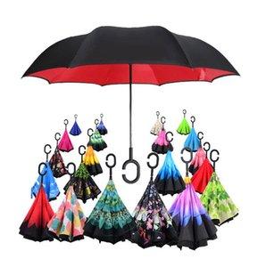 Paraguas tienda al por mayor 57 Patrones Soportes Sunny Rainy Paraguas Inversión Inversión Paraguas invertidos con mango C Doble Capa Dentro Out Prueba de viento