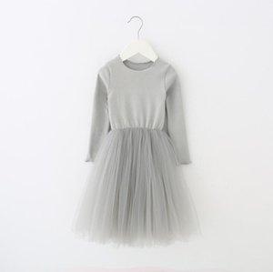Kızlar Uzun Kollu Tül Etekler Tutu Prenses Elbiseler Çocuk Tasarımcı Giysi Ins Balo A-line Elbise Dans Parti Zarif Elbise HHC6145