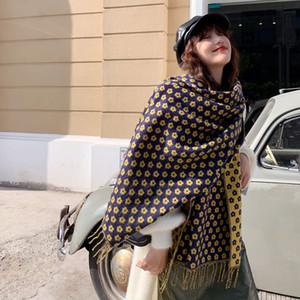 Korean autumn and winter fresh flowers imitation cashmere scarf women's simple fashion shawl students warm neck