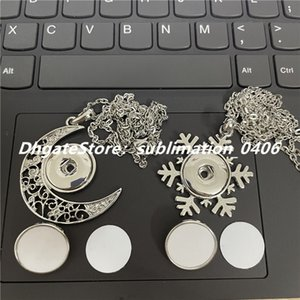 Noosa Chunks Moon Shaped Pendant Snowflake Charms Necklace DIY Jewelry with 18MM Snap Buttons and Sublimation Aluminum Sheet