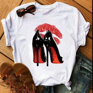 Fashion hot sale Women T Shirt Red High Heels Shoes and Lipstick Print Vogue T Shirt Female Harajuku Tops Tee 90s Ladies Tee Shirts T