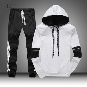 White Black Men Hoodies Fashion 2020 Autumn Brand Casual Tracksuit Mens Set Sports Two Piece Patchwork Hoodie Pant Male Suit