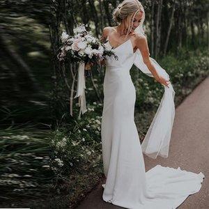 2021 جديد بسيط الخامس الرقبة شاطئ أكمام الساتان بوهو أثواب الزفاف مصلى قطار الأبيض العاج السباغيتي الأشرطة الزفاف ES 0YQ7