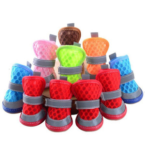 Dog Sandals Anti-Slip Small Dogs Shoes Soft Mesh Puppy Shoe Reflective Hollow Covers Dog Supplies 6 Colors AHB3026