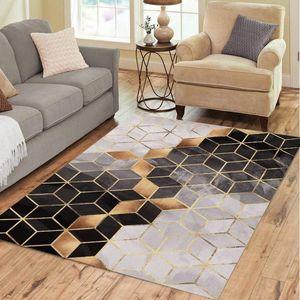 Nordic Style Geometric Marble Pattern Carpet Living Room Rug Sofa Coffee Table Mat Bedroom Yoga Pad Rectangular Blanket Luxury