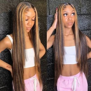 Ombre Straight 360Lace Front Wig Blonde Highlight Human Hair Wigs for Black Women Pre Plucked Brown Remy Hairs 13*4 Lace Frontal Wigss
