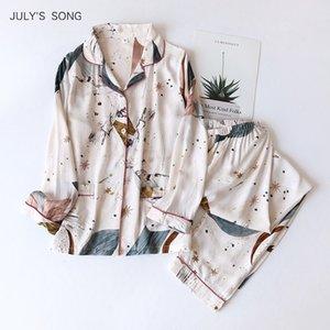Temmuz Şarkısı 100% Viscose Kadın Pijama Rahat Uzun Kollu Pijama Pijama Set Baskılı Cepler Yaz Serin Pijama Takım Femmel 210315