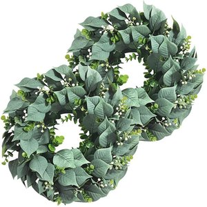 Decorative Flowers & Wreaths 2 Pack Artificial Eucalyptus Wreath For Front Door Decor, 11inch Greenery Leaves With Seeds Home Wall Window