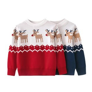 Pullover Autumn Baby Girls Boys Knit Sweater Christmas Outifts Elk Print Knitted Sweaters Screw Neck Warm Clothes 2-7T