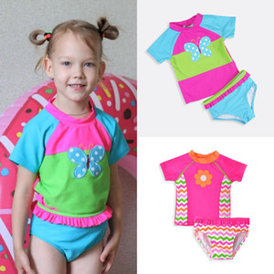 Baby girls butterfly embroidery swimswear kids swimsuit children swim wear baby bathing Two Pieces suit for baby girls M3321