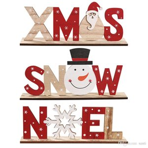 Christmas Decorations for Home Wooden Letter Snowflakes Santa Claus Ornaments Xmas Home Dinner Party Table Decor Navidad New Year JK1910