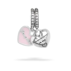 925 Sterling Silver Mother & Daughter Hearts Dangle Charm Beads Fit Original Pandora Charm Bracelet Jewelry Mum Mom Gift
