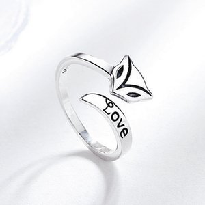 Cute Fox Open Ring Women Girl Animal Fox Letter Love Ring Gift for Love Friend Fashion Jewelry Accessories