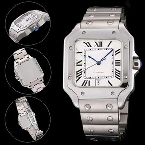 Top Quality Men Fashion Watch Classic Square Design Stainless Steel Mens Watches Automatic Movement Glide Sweep Move Wristwatches Clock