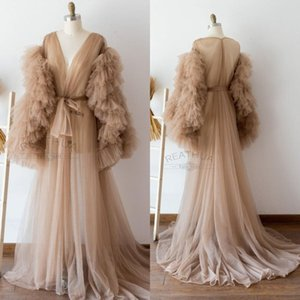 Tiered Skirts Boudoir Gown Long Sleeve Wedding Sleepwear Bathrobes Nightgowns Robes Bridal Women Dress Kimono Ruffled