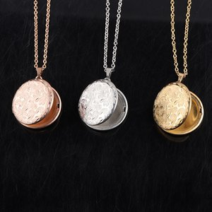 Fnixtar Flower Pattern Round Photo Frame Pendant Necklace Mirror Polish Stainless Steel Memorial Locket Necklace 10pieces lot C0225