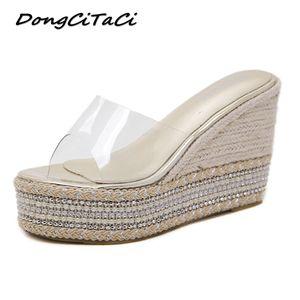 DongCiTaCi Women Wedge Sandals Clear Platforms Shoes Woman Rivets rinestones Muffin Bottom Hemp rope Summer String Bead Sandals Q0224