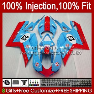 Injection Fairings For DUCATI 848 1098 1198 S R 848R 1198R Bodywork 18No.27 848S 1098S 2007 2008 2009 2010 2011 2012 1098R 1198S 07 08 09 10 11 12 Cyan red OEM Body Kit