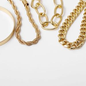Punk Curb Cuban Chain Bracte набор модных женщин Miami Bohemian толстый золотой золотой очаровательная резьба преувеличена слово браслеты