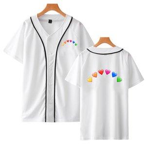 Trend Harajuku Summer Full of love 3D Short Sleeve Baseball Uniform Men Women Print T-SHIRT Winter Lady Hem Shirts Fashion Tees