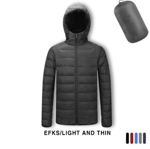 Short cotton down jacket men winter slim breathable puffer jacket ultra thin down jacket mens Solid black ultra light