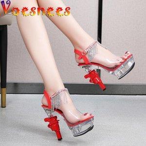 Voesnees 2021 Damen Sandalen Transparente Feste Farbe Sexy Elegante Damenschuhe 14cm High Heel Platform Strass Hochzeitsschuhe