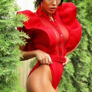 Women's Jumpsuits & Rompers Black Ruffles Elegant Button Up Mesh Ruffle Trim Fitted Stand Collar Short Sleeve Skinny Bodysuit Summer Women P