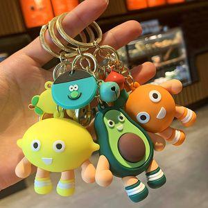 Fruit Doll Keyring Keychain Bag Charms Car Key Rings Holder Avocado Lemon Durian Strawberry Apple Pear New Fashion PVC Key Chain Accessories