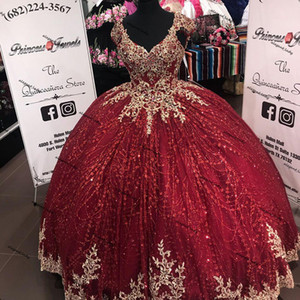 Glittery Ball Gown Quinceanera Dresses Cap Sleeve Gold Floral Applique v-neck lace-up corset back vestidos para quinceaños gown