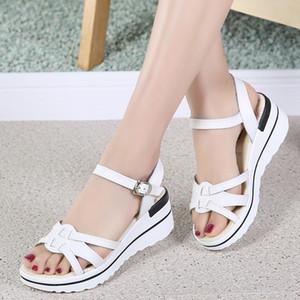 Split Leather summer Women Beach sandals Mid Heel Womans Sandals Shoes Wedges ladies Sneakers Platform Flip Flop shoes