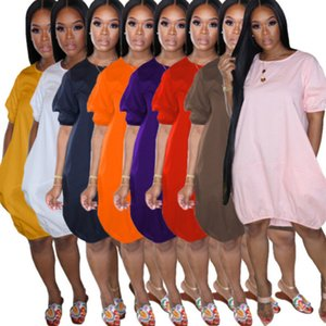 النساء اللباس فقاعة تنورة كبيرة الحجم شيرت فانوس تنورة مصمم الصيف قصيرة الأكمام سترة فساتين عارضة المطبوعة السيدات الملابس