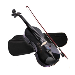 4 4 ACOUSTIC Violin + CASE + BOW + ROSIN WHOLE VIOLIN SET-Black