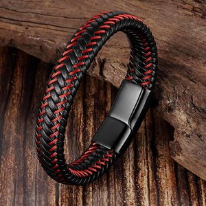 Trendy Men Jewelry Red Braided Leather Rope Bracelet Black Magnetic Buckle Bracelets Punk Men Wrist Band Pulsera Hombre C0225