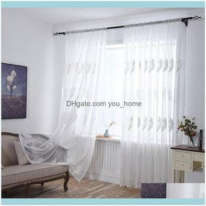 Deco El Supplies Home Gardentulle Window Curtain For Living Room Bedroom Sheer Curtains Kitchen Modern Embroidered Screening Voile & Drapes