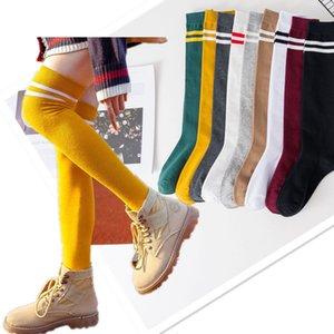 Сексуальные женские чулки бедра высоко на коленных носках полосатые милые Kawaii Lolita девушка нога теплые длинные чулки случайные спортивные спортивные носины