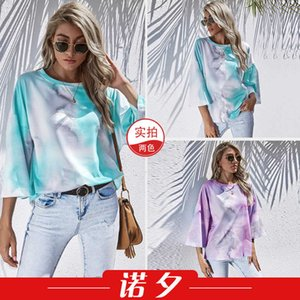 2021 spring women's round neck tie dyed 3   4 sleeve T-shirt 1675