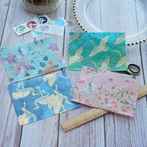 11.8*14.8cm 3pcs Gold Crane Flying Blue Pink Green Design Envelop As Postcard Message Card Invitation Envelop Transparent Paper