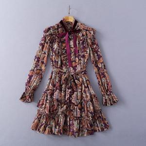 2021 طويلة الأكمام الوقوف طوق طباعة الأزياء ميلان المدرج اللباس مصمم اللباس العلامة التجارية نفس نمط اللباس 0224-15
