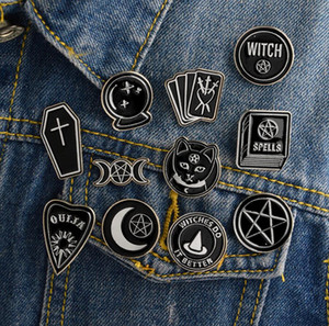 Witch Ouija Moon Tarot BooK New Goth Style Enamel Pins Badge Denim Jacket Jewelry Gifts Brooches for Women Men 167 T2
