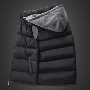 2020 Spring Winter Sleeveless youth Jacket for Men Fashion Warm Hooded Male Cotton Work Waistcoat Gilet Homme Vest
