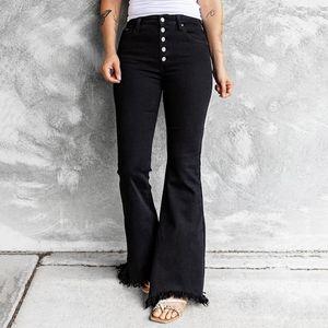 Women's Jeans Women Button High Waist Pocket Solid Color Wide Leg Flared Trousers Slim Causal Vintage Denim Pants Pantalones De Mujer