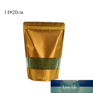 14 * 20 cm Gold Stand Up Mylar Foil Foil Bag di stoccaggio di cibo con finestra trasparente con finestra con rilievo con foglio di alluminio con foglio di alluminio richiudibile 50pcs / lot