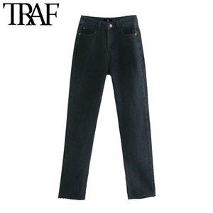 TRAF Mujeres Chic Moda Pantalones de mezclilla con dobladillo Ventiladores Vaqueros de destello Vintage Cintura alta con cremallera Mosca Pantalones Mujer Mujer 210312