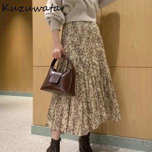 Kuzuwata primavera nuevo estilo francés mujer faldas elegante elegante impresión irregular remiendo jupe oficina señora alta cintura falda plisada