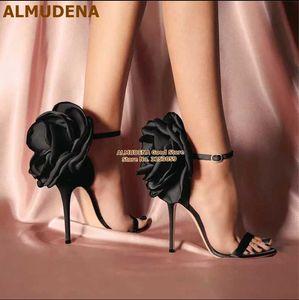 ALMUDENA Satin Cloth Big Flowers High Heel Sandals Silk Fabric Floral Buckle Strap Wedding Shoes Size46 Banquet Pumps Dropship