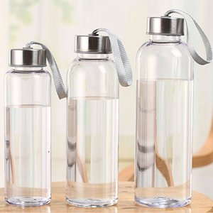 300ml 400ml 500ml novo esportes ao ar livre Garrafa de água de água plástico transparente redondo À prova de vazão carregando para crianças studen drinkware