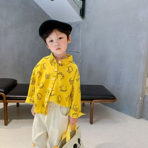 Autumn Spring boys cartoon printed long-sleeved shirts kids cotton soft casual shirt 210305
